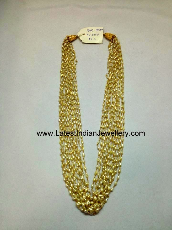 e1f50d93b0cd1 Rice Pearl Beads Gold Necklace | Jewellery | Pearl beads, Gold ...