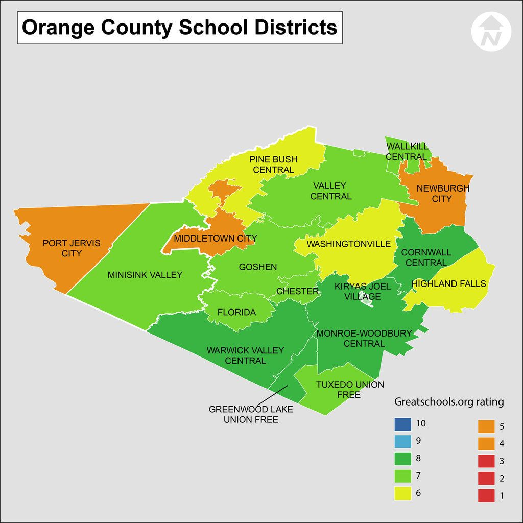 Orange County New York School District Map Map Is Color Coded - Florida map to color