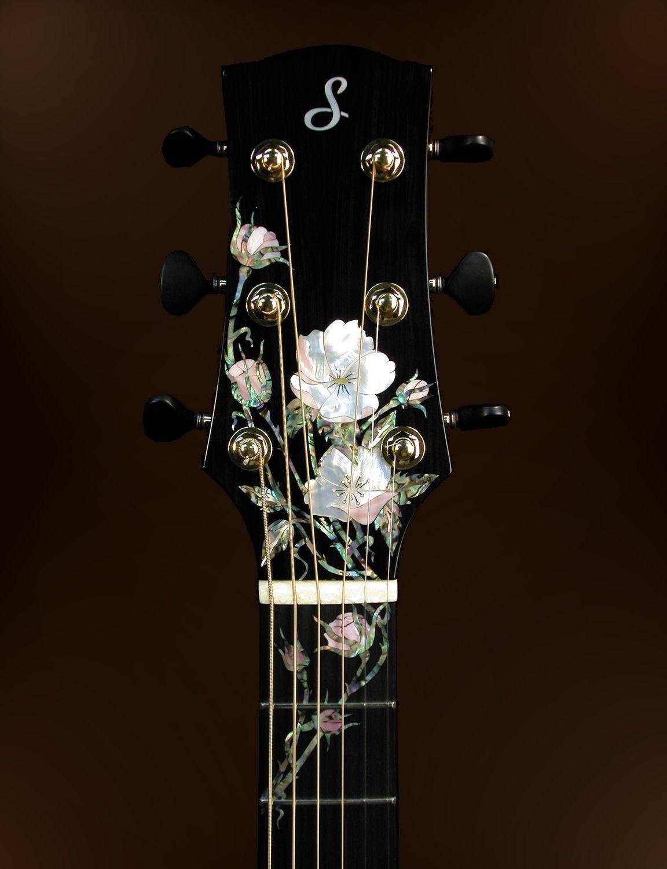 John Denver S Taylor Headstock The Acoustic Guitar Forum Acousticguitar Guitar Design Guitar Inlay Guitar Art
