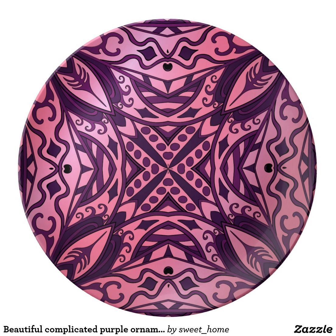 Beautiful complicated purple ornament dinner plate  Moroccan ornament for bedroom make interior unique and add aesthetics sense. Ornament create in oriental tradition. #Home #decor #Room #accessories #Interior #decorating #Idea #Styles #abstract