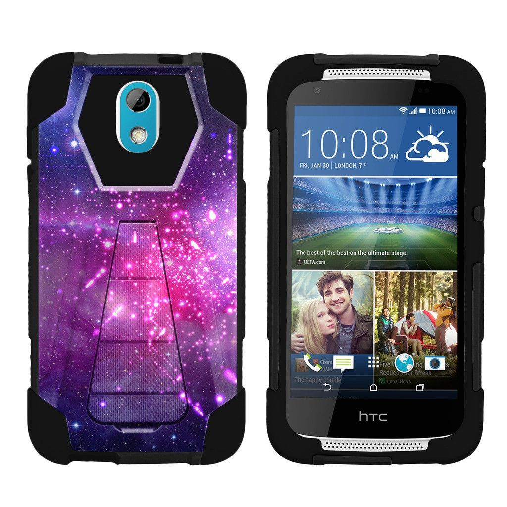 HTC Desire 526 Case, Desire 526G Hard Case [SHOCK FUSION] High Impact Hybrid Dual Layer Case with Built In Kickstand by Miniturtle® - Heavenly Stars