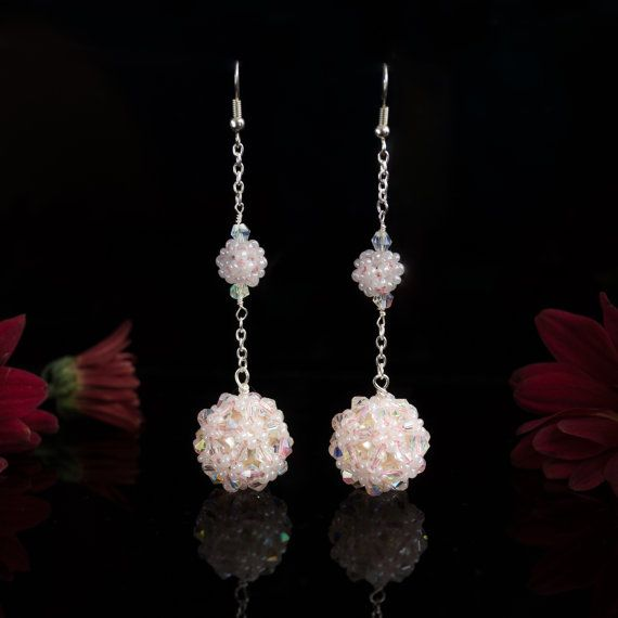 Long White Bead Ball Earrings Beadwork Jewelry by SoroorStudio