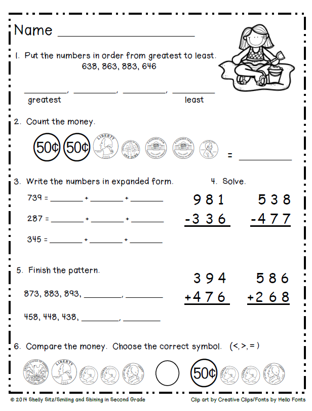 Second Grade Summer Math Freebie Reviews 2nd Grade Math Skills Summer Math Worksheets Second Grade Math 2nd Grade Worksheets