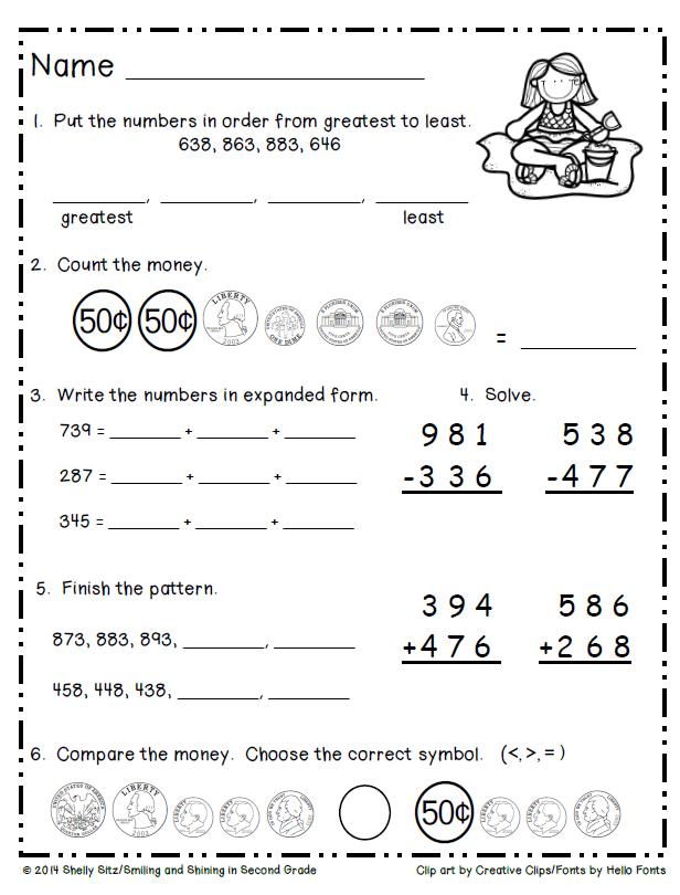 Summer Math Freebie 2nd grade math, Second grade math