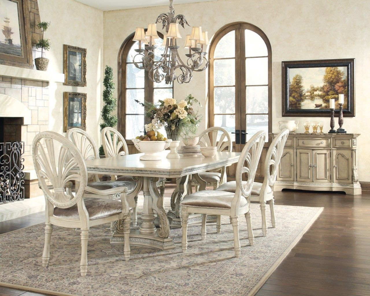Antique White Glass Top Dining Table | Doces Abobrinhas | Pinterest ...