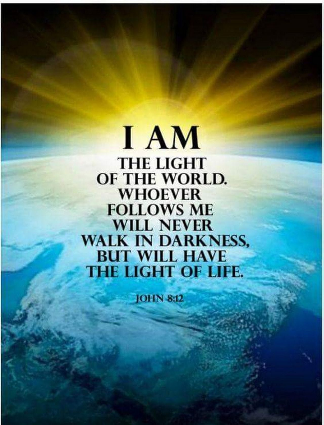 "John 8:12 (NIV) - When Jesus spoke again to the people, He said, ""I am the  light of the world. Whoever follows … 