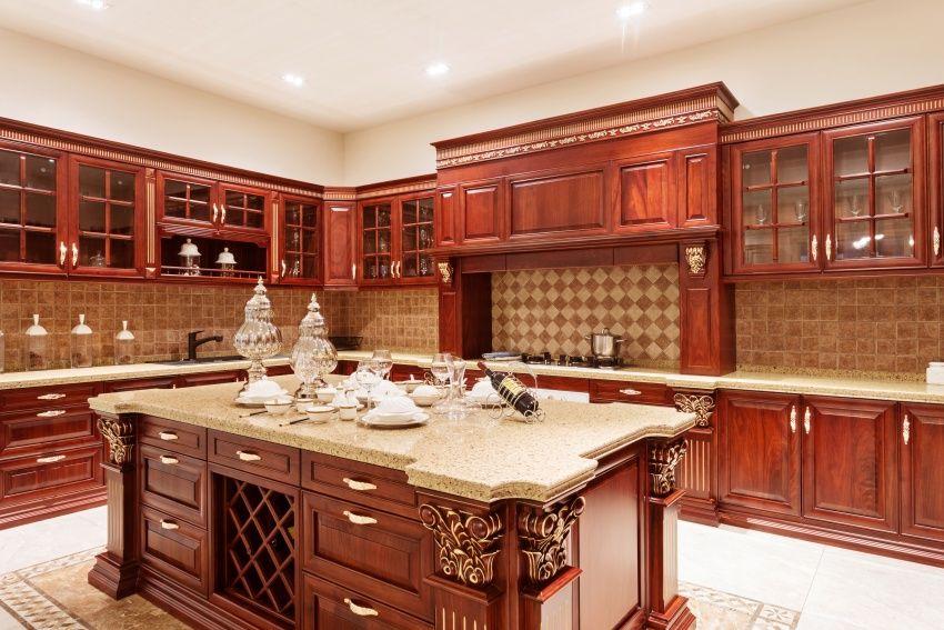 Redwood U Shaped Kitchen Design Wood Kitchen Cabinets, Furniture Design,  Glass, Tops