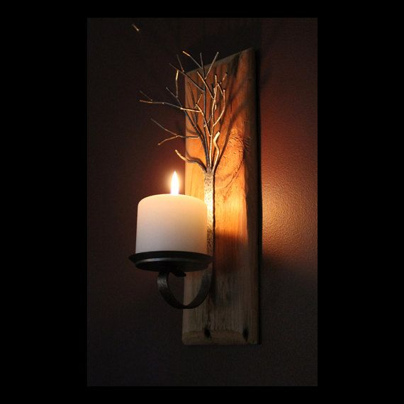 reputable site dbb2d 98628 Metal tree sculpture candle wall sconce on reclaimed wood ...