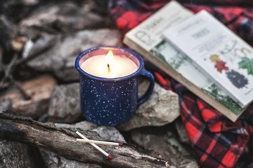 upknorth: fall nostalgia  campfire mug candle