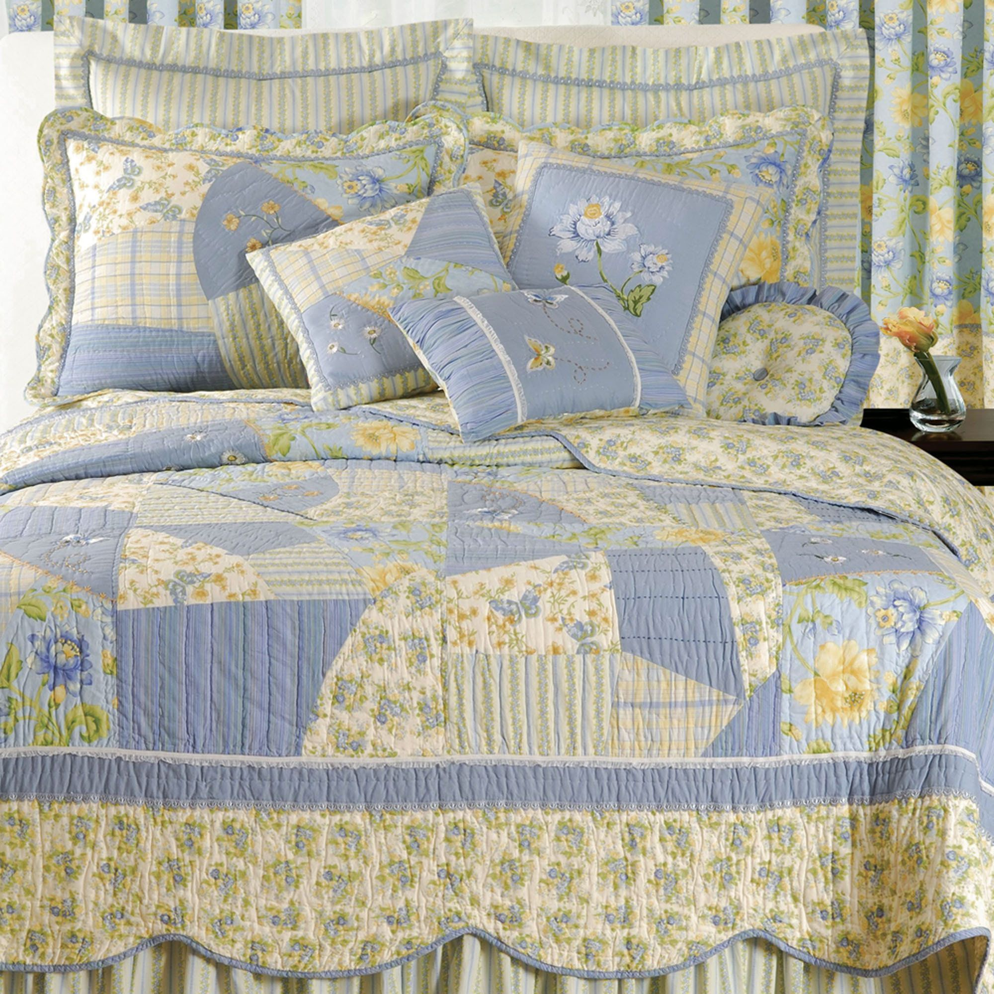 Yellow and blue bedding - Yellow Cottage