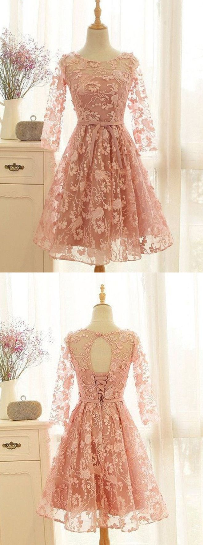 Aline crew kneelength sleeves open back laceup pink lace