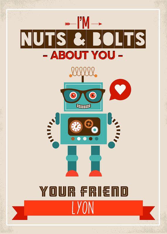 Printable Valentine Card Boy S Valentine S Robot By Lyonsprints