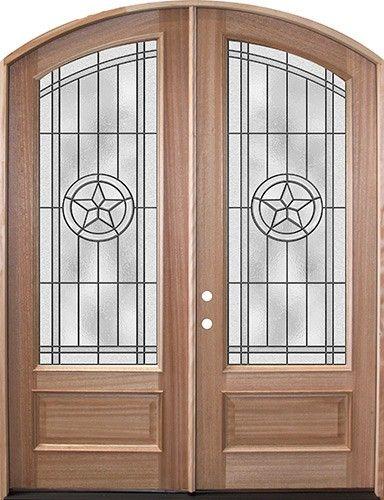 80 Mahogany Arch Top Double Door Texas Star Front Entry Door From