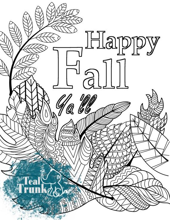 Printable Adult Coloring Page Happy Fall By Thetealtrunkstudio