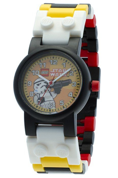 LEGO Kids' 9002922 Star Wars Stormtrooper Plastic Watch with Link Bracelet and Mini-Figure