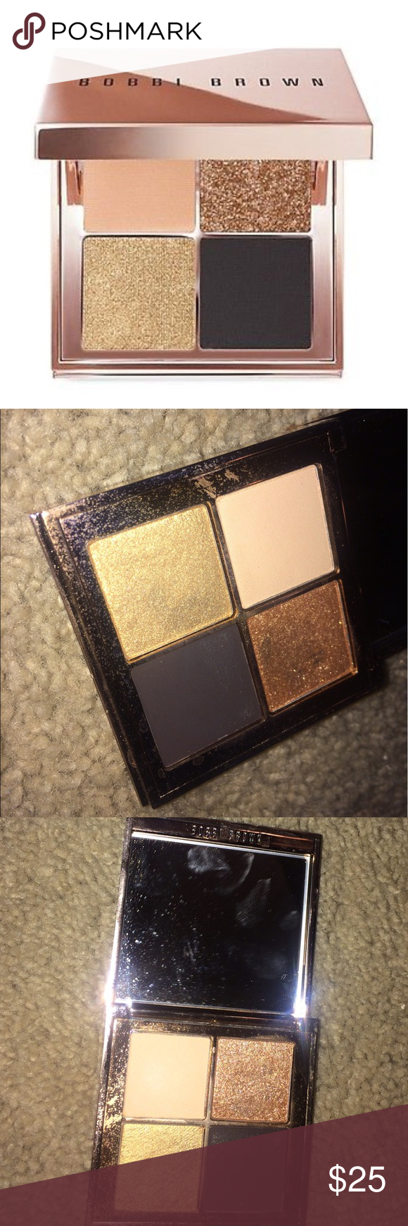Bobbi brown sunkissed gold eye palette Selling this beauty! Not much of a eyeshadow fan so I figured I'd sell to someone who is! I'm not sure when Bobbi Brown was selling this and I'm guessing it's discontinued. It's a little dirty from being in my makeup bag but I will drop the drop bc of the cleanliness! Never used. Just swatched. Bobbi Brown Makeup Eyeshadow