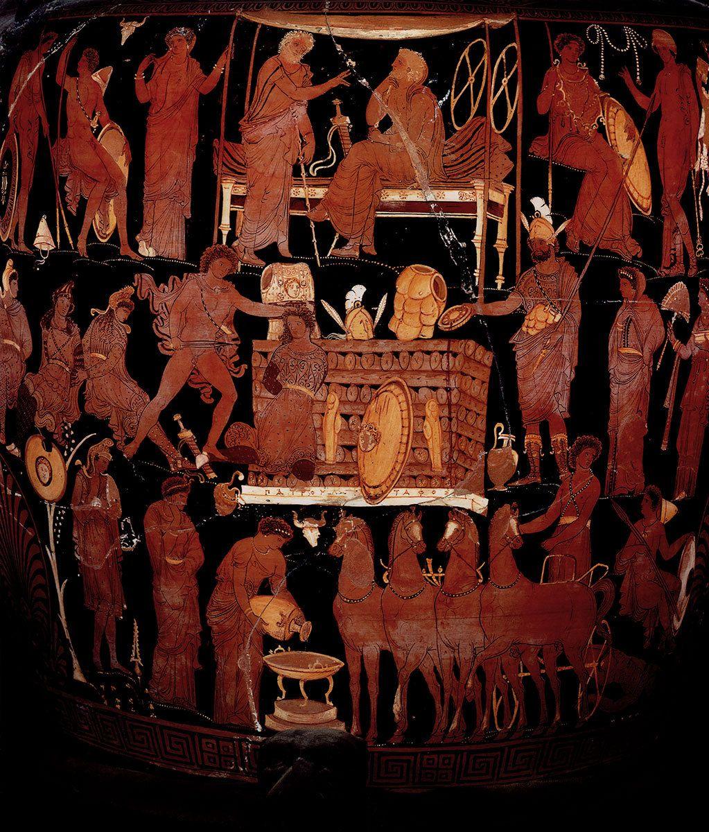So Called Vase Of Patroclus Red Figure Volute Krater Place Of Origin Apulia Artist Darius Painter Date 340 320 Ancient Greek Pottery Ancient Ancient Art