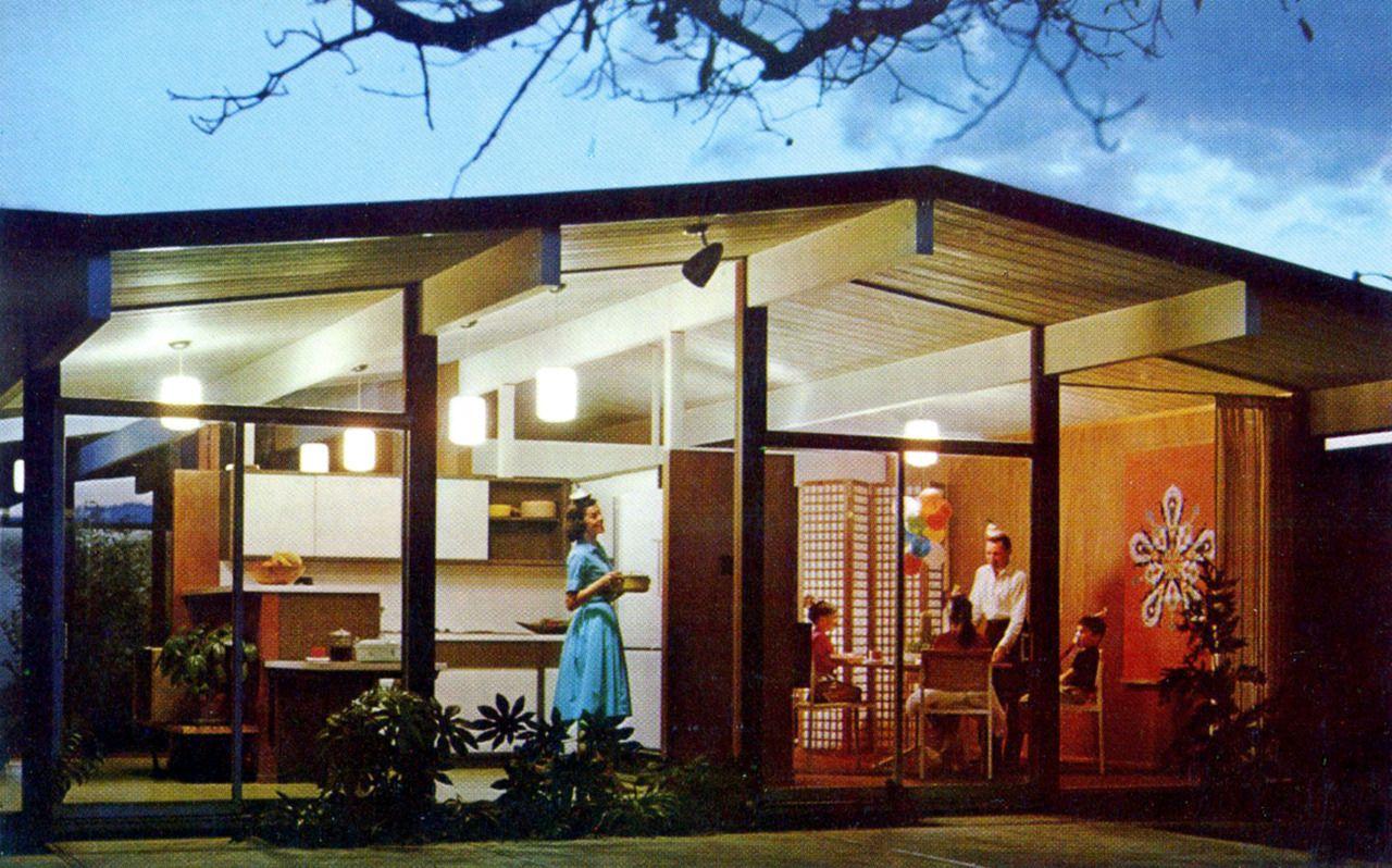 Joseph eichler homes postcard 1960s mid century for Architecture 1960