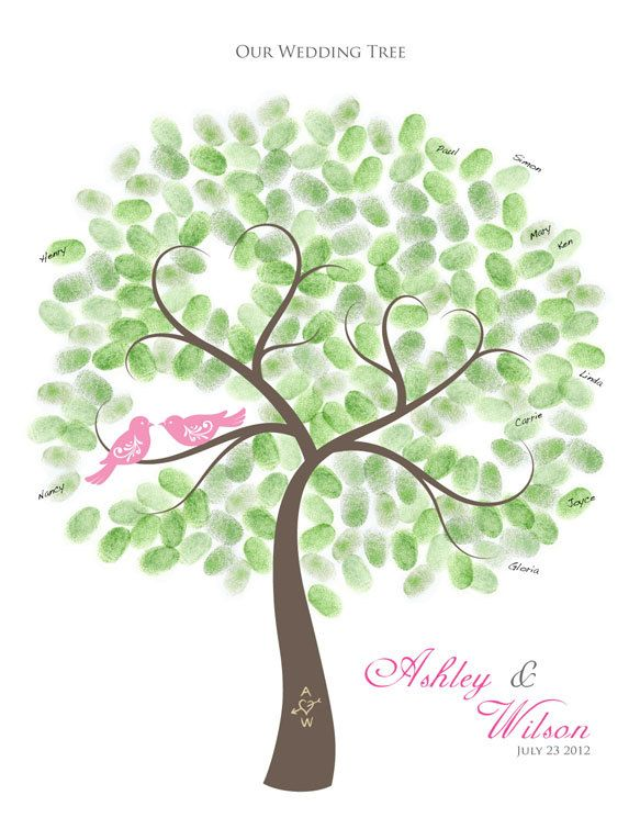 Thumbprint Wedding Tree Guest Book Alternative Poster with Ink Pad, 17x22, Up to 250 fingerprints. $50.00, via Etsy.