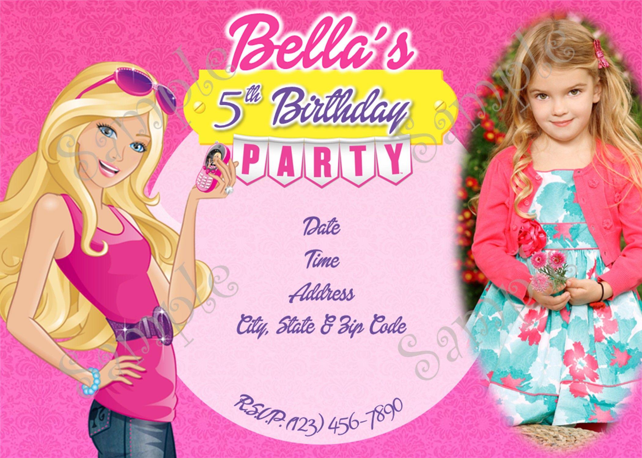 Barbie Birthday Invitation 5x7 or 4x6 Inches
