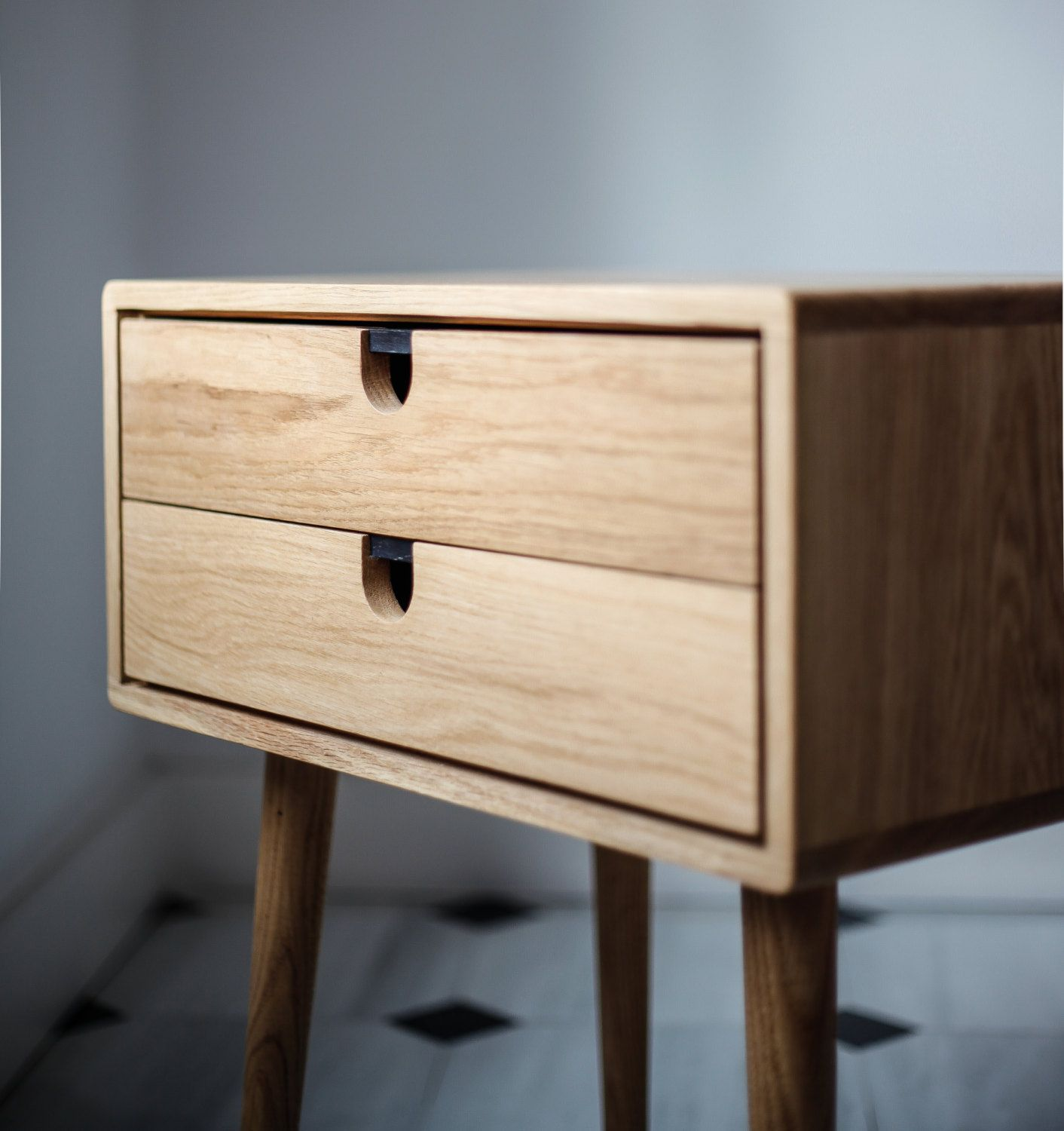 Mid Century Modern Solid Oak Nightstand With Double