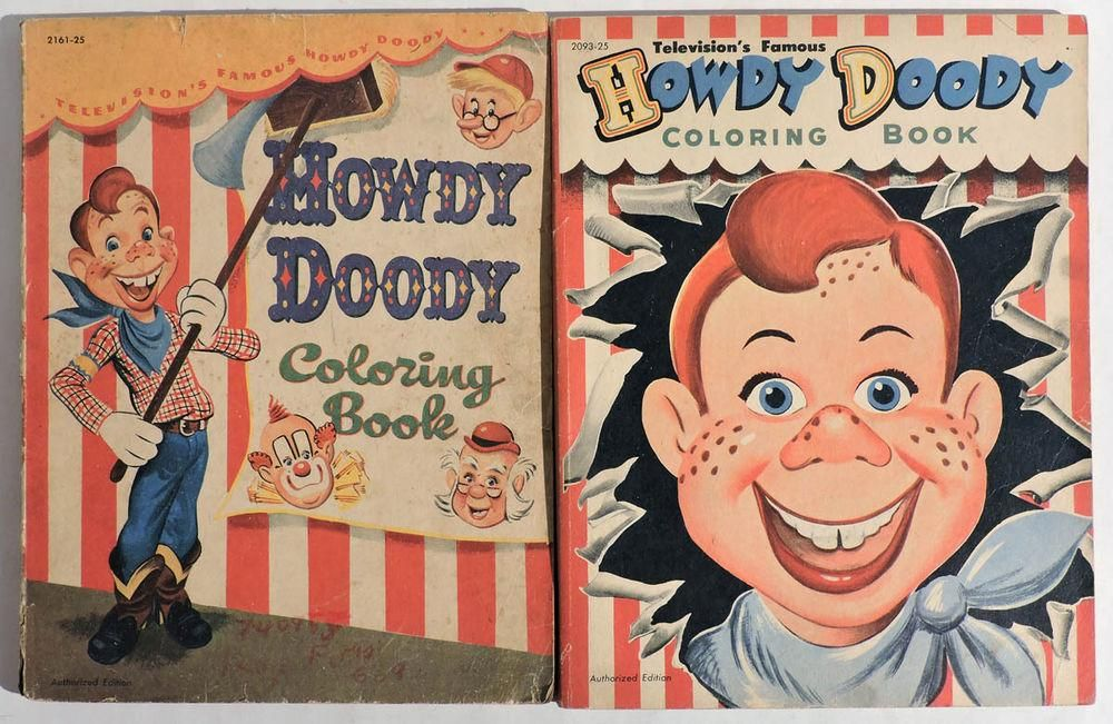 VINTAGE Lot Of 2 HOWDY DOODY Coloring Books By Whitman 1950s