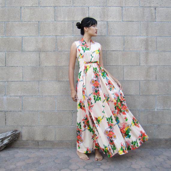 vintage floral maxi dress/ 70s colorful summer sundress ...