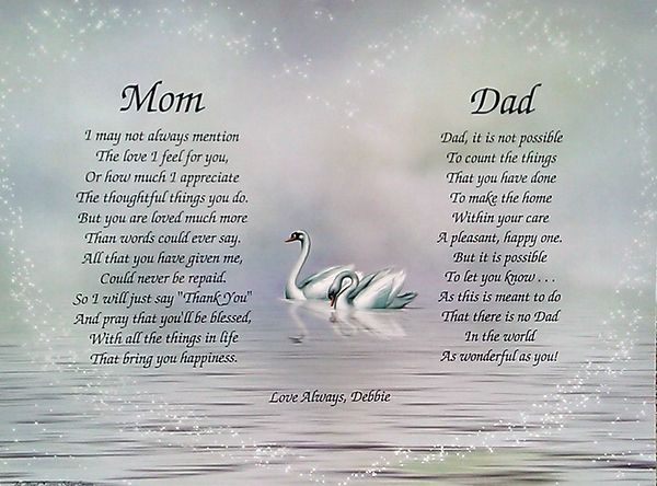 Mom Dad Poems Personalized Print Anniversary Christmas