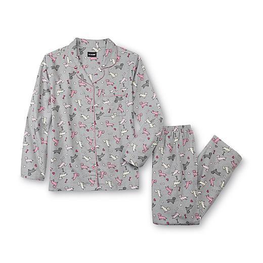 Joe Boxer Women s Flannel Pajama Shirt   Pants - Dachshund ... 37e2d045e