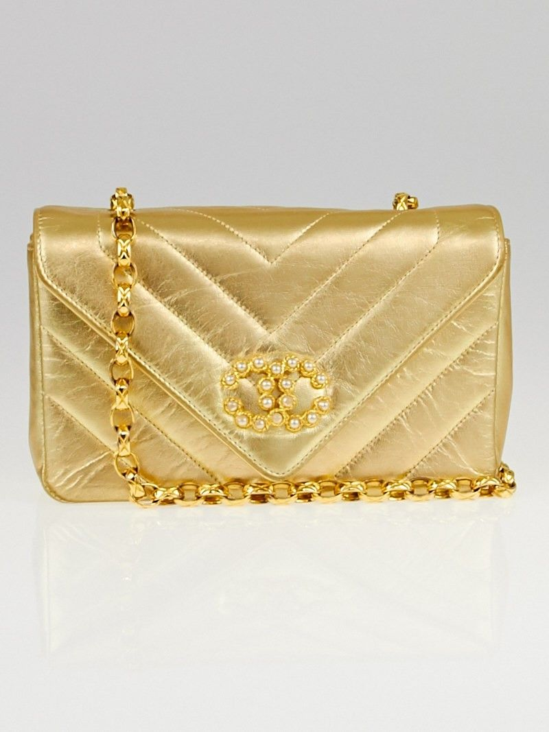 b91826085 Chanel Vintage Gold Chevron Quilted Leather Pearl Bag | Chanel bags ...