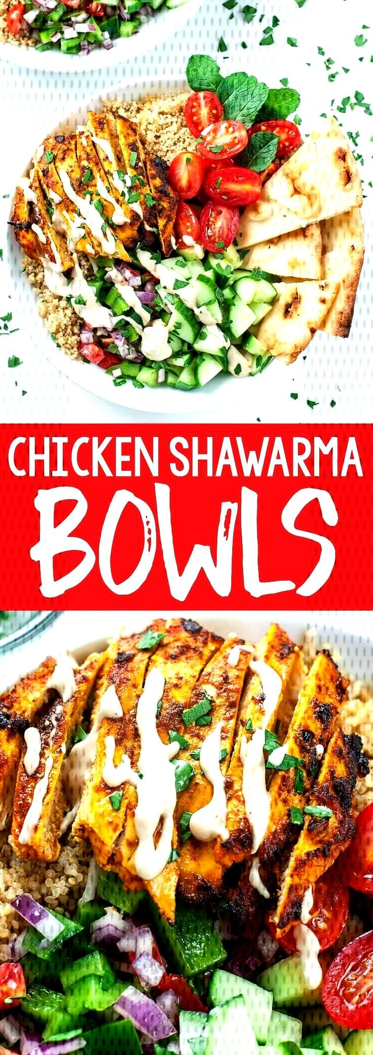 We're loving this recipe for healthy Chicken Shawarma Quinoa Bowls with a super easy hack for creat