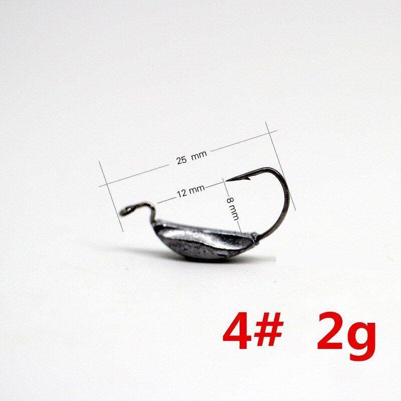 50pcs// set Wide Gap Worm Hook Jig Fishing Crank Hook Soft Bait Lure Bass Hook 6T