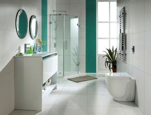 seladongrün weiß fliesen mosaik badezimmer wandspiegel wc - mosaik im badezimmer