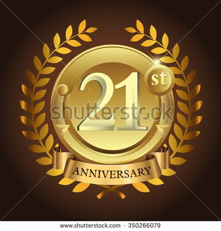 21st golden anniversary wreath ribbon logo - stock vector #wreath - visitor sign in sheet template