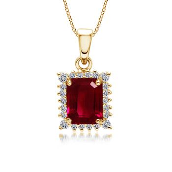 Angara Ruby Antique Pendant in Platinum with Diamond Border LpxIR5xEf