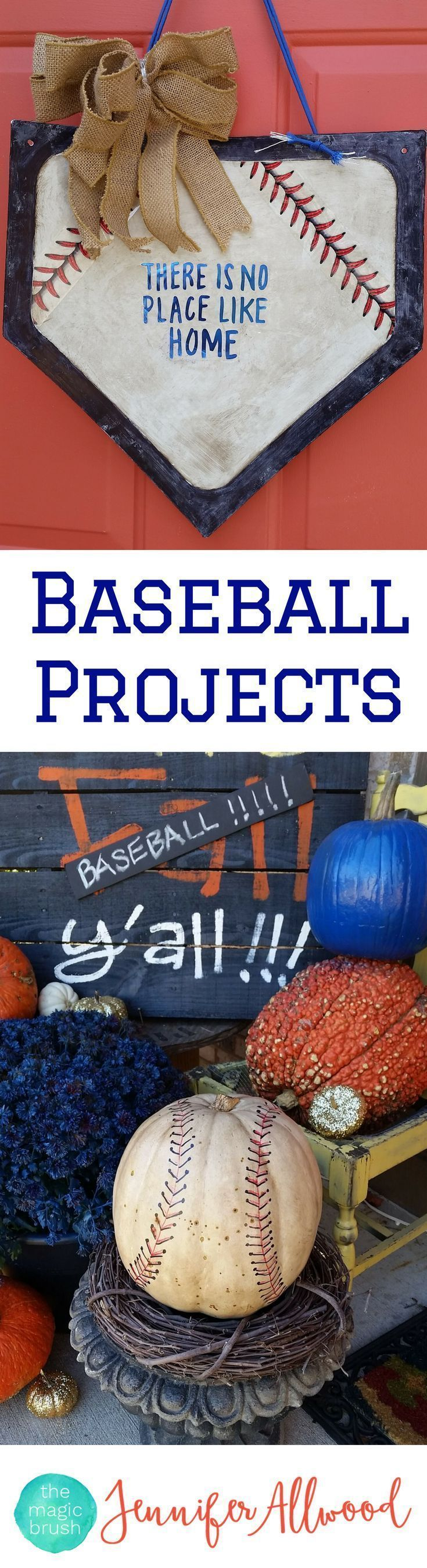 DIY Baseball Projects and Baseball Decor by theMagicBrushinc.com Fun ideas for door and porch decorations, baseball pumpkins,  baseball-themed bedrooms and more! By Jennifer Allwood #diy #diyhomedecor #homedecor #jenniferallwood