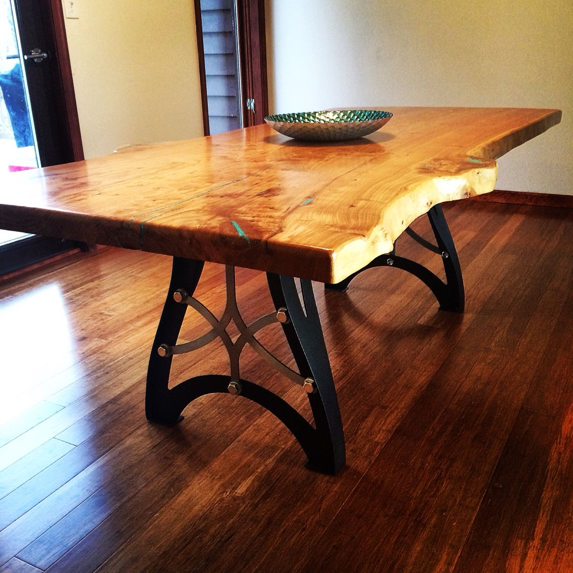 Elegant Handcrafted Vintage Industrial Steampunk Metal Legs, Live Edge American Elm Wood  Slab Table Top.