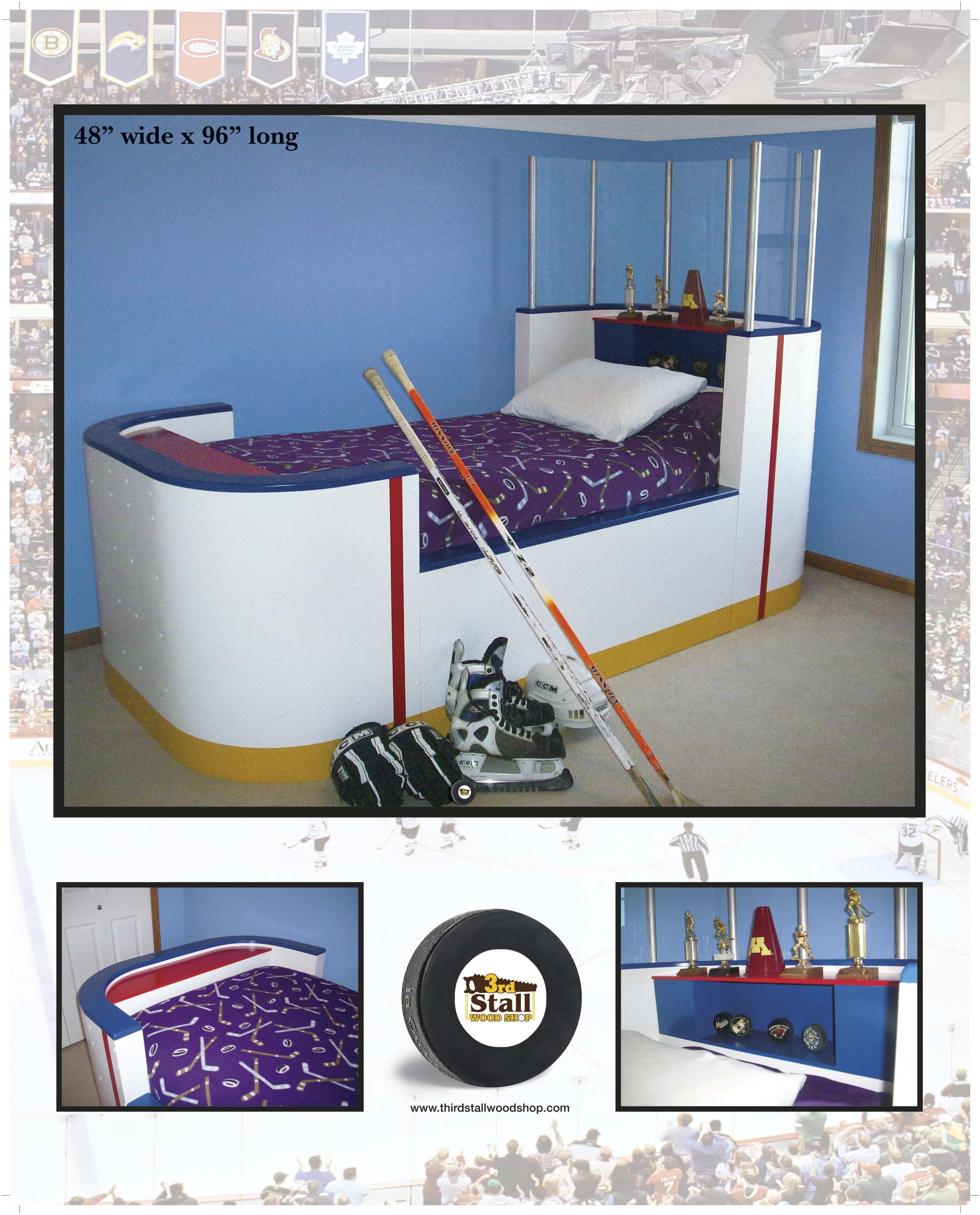 Custom Made Hockey Rink Bed Www Thirdstallwoodshop Com Hockey Bedroom Hockey Room Hockey Bedding