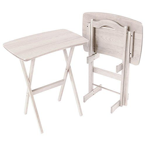 Manchester Wood Contemporary Folding TV Tray Table Set of 2 - Rustic ...