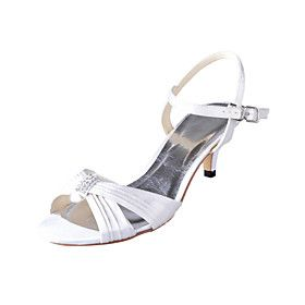 Gorgeous Satin Stiletto Heel Sandals With Buckle And Rhinestone Wedding Shoes(More Colors)