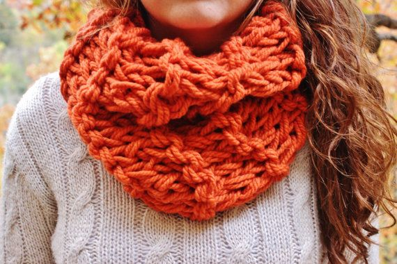 Knitting Loop Scarf : Pumpkin orange knitted chunky circle scarf with double knit loop