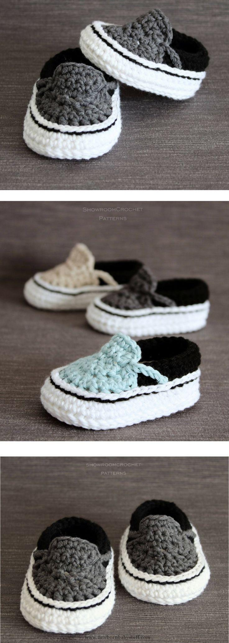 Crochet Baby Booties Crochet PATTERN. Vans style baby sneakers. Instant Download....