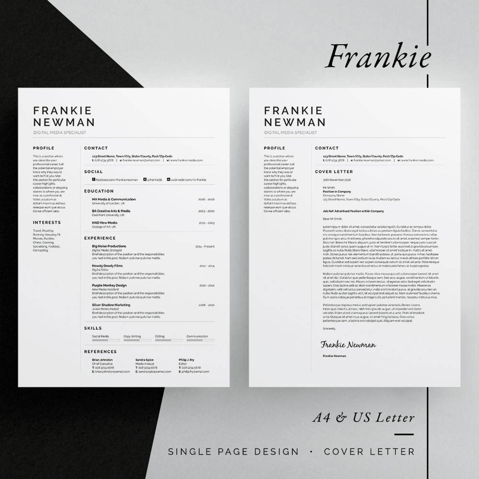 Frankie Resume/CV Template Word InDesign Etsy