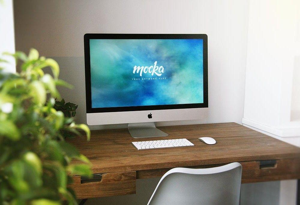Imac Home Desk Mockup Free Psd