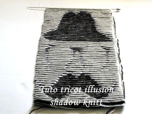 tricot illusion,tuto tricot illusion,écharpe tricot illusion, gentleman tricot illusion, modèle tricot illusion