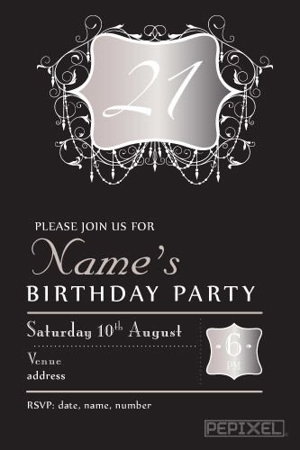 Pin On 21st Birthday Invitations
