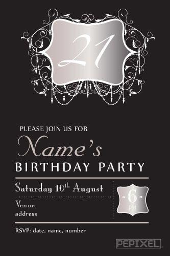 21st Birthday Invitation 21st Birthday Invitations 21st Birthday