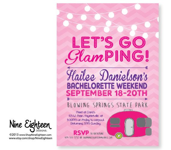 Glamping INVITATION Birthday Campout invite with pink tent – Customizable Bachelorette Party Invitations