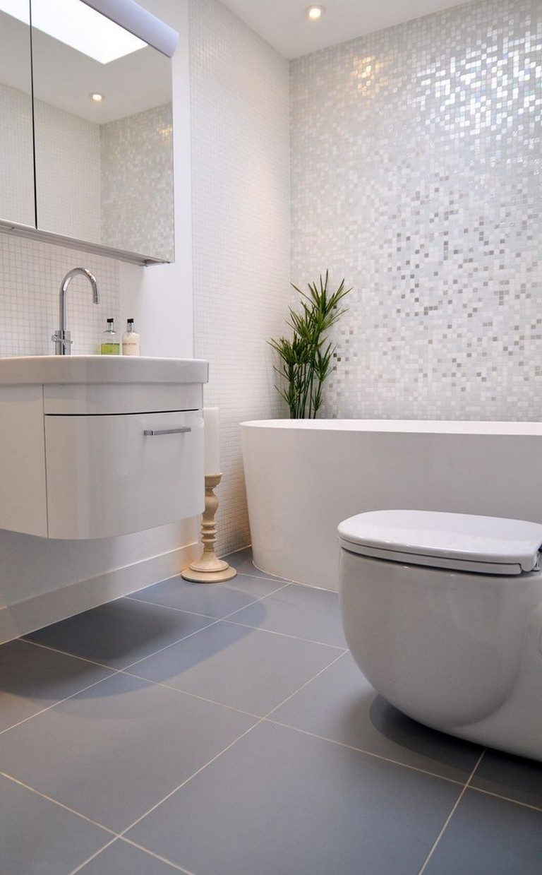 grey bathroom floor