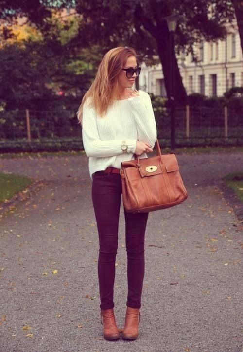 White warm sweater with dark mauve taupe casual jeans and brown leather hand bag and belt and boots